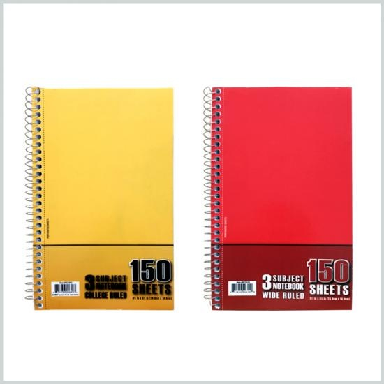 3 subject hardcover notebook 150 sheets